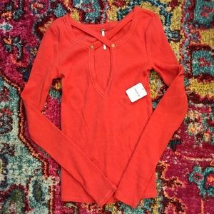 Free People Burnt Orange Front Cross Sweater NWT
